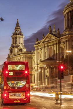 St. Paul's Cathedral in London at Dusk. by David Bank