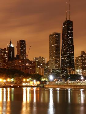 The Chicago Skyline Seen from the Navy Pier on a Rainy Day, USA by David Bank
