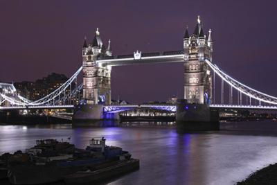 The Famous Tower Bridge in London Seen at Dusk, London, England by David Bank