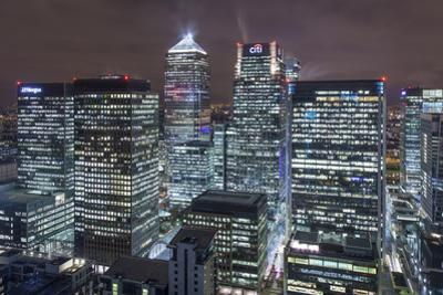 The New London Financial District in the Docklands at Night. by David Bank