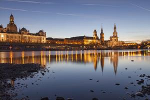 The Panorama of Dresden in Saxony with the River Elbe in the Foreground. by David Bank