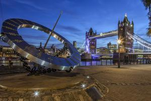 The Tower Bridge in London Seen from the East at Dusk, London, England by David Bank