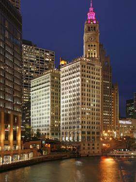 The Wrigley Building in the Loop in Chicago on a Rainy Day, USA by David Bank