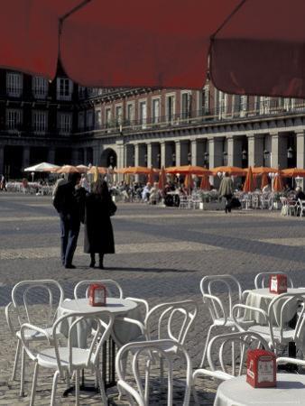 Cafe Tables in Plaza Mayor, Madrid, Spain by David Barnes