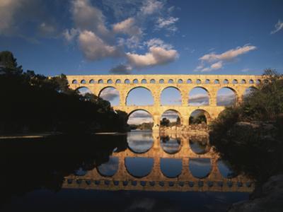 France, Gard, Languedoc, Pont Du Gard Bridge and River Gardon by David Barnes