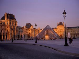 Le Louvre Museum and Glass Pyramids, Paris, France by David Barnes