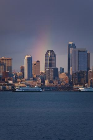 Rain Bow over Seattle by David Barnes