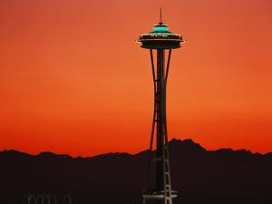 Space Needle at Sunset, Seattle, Washington, USA by David Barnes