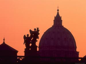 St. Peter's Basilica and Statues on Ponte St. Angelo, Vatican, Rome, Italy by David Barnes