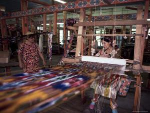 Handloom Silk Weaving, Margilan, Uzbekistan, Central Asia by David Beatty