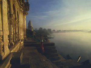 Misty Dawn on Narmada River, Bathing Ghats at Mandla, Madhya Pradesh State, India by David Beatty