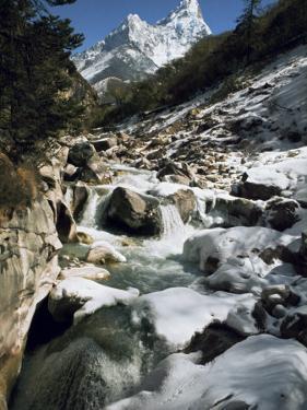 Mountain Stream and Peaks Beyond, Himalayas, Nepal by David Beatty