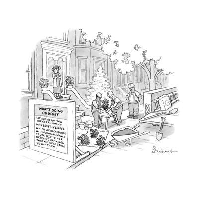 Construction workers repot plants after backing into Mrs. Beverly Seidel's... - New Yorker Cartoon