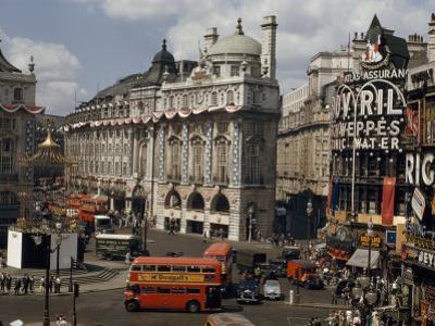 High Angle View of Traffic and Pedestrians in Piccadilly Circus