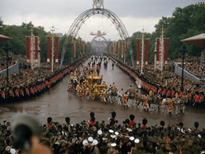 Queen Elizabeth II Returns to Buckingham Palace in Coronation Coach