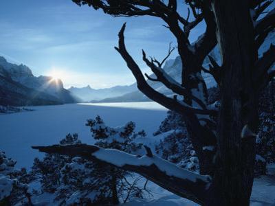 Winter Landscape, Many Glacier, Glacier National Park, Montana by David Boyer