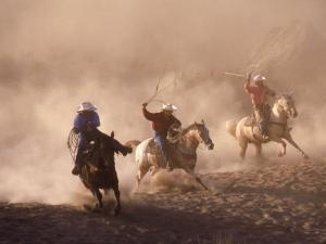 Cowboys on Horse, Rock Springs Ranch, Bend, OR by David Carriere