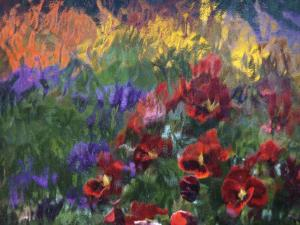 Impressionistic Pansies by David Carriere
