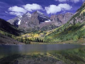 Maroon Lake and Autumn Foliage, Maroon Bells, CO by David Carriere