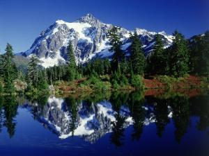 Mt. Shuksan Reflected in Highwood Lake, WA by David Carriere