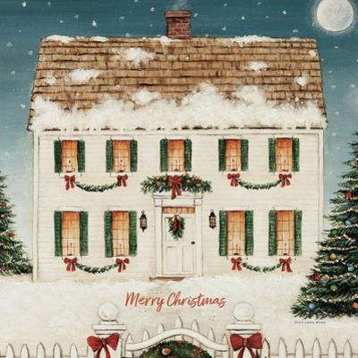 Merry Lil House Sq Merry Christmas by David Carter Brown