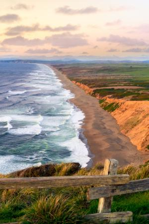 Sunset along Pt Reyes Seashore, San Francisco with oceans breaking along the California coast