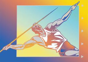 Athlete Throwing Javelin by David Chestnutt