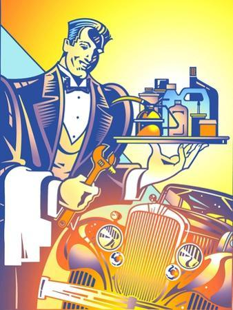 Auto Mechanic Dressed Like Waiter with Serving Tray Next to Vintage Car by David Chestnutt