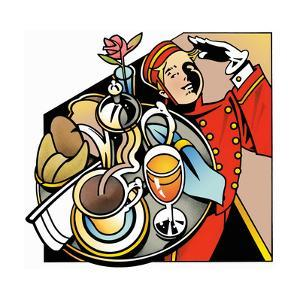 Bell Boy Saluting Bringing Breakfast Tray by David Chestnutt