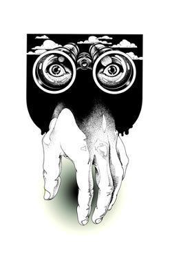 Binoculars Above Hand by David Chestnutt