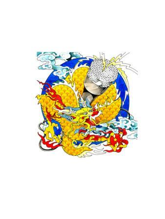 Chinese Dragon Above Globe by David Chestnutt