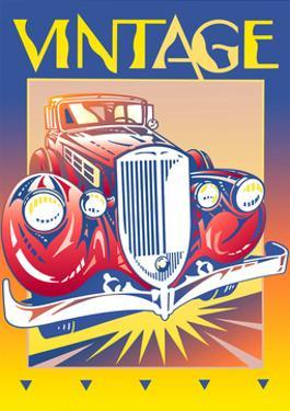 Collectors Car with Sign 'Vintage' Above by David Chestnutt