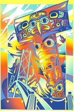 Colorful Totem Pole in Front of Suspension Bridge by David Chestnutt