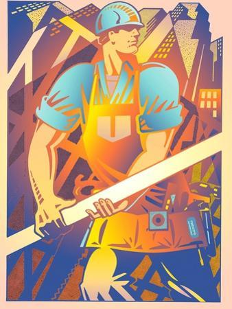 Construction Worker Carrying Beam by David Chestnutt