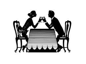 Couple Drinking Wine in Restaurant by David Chestnutt