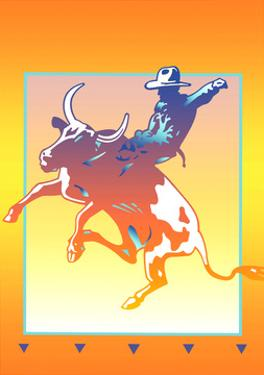 Cowboy Riding Bull at Rodeo by David Chestnutt