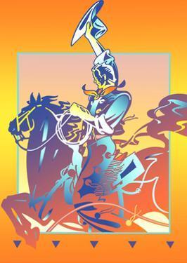 Cowboy Riding Horse by David Chestnutt