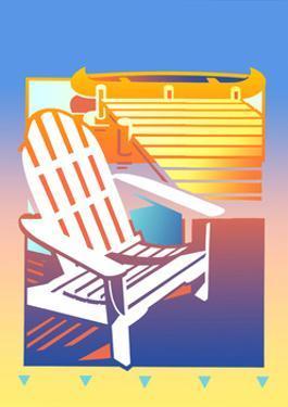 Empty Adirondack Chair by Jetty by David Chestnutt