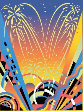 Fireworks Display with Abstract Pattern by David Chestnutt