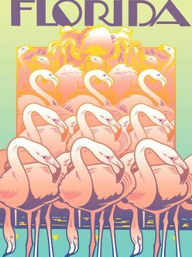 Flamingos Against Colored Background with Sign 'Florida' Above by David Chestnutt
