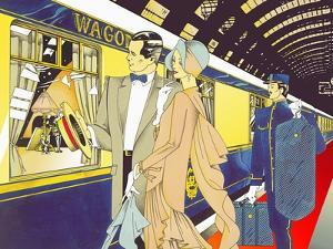 Glamorous 1920s Man and Woman Boarding Train with Porter Carrying Luggage by David Chestnutt