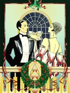 Glamorous 1920s Man and Woman Drinking Cocktails at Christmas by David Chestnutt