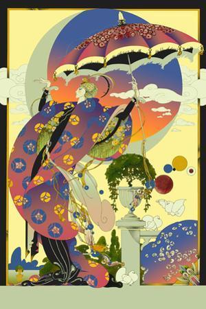 Glamorous 1920s Woman Wearing Ornate Gown in Art Deco Garden by David Chestnutt