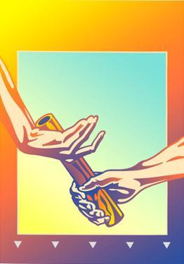 Hands Passing Baton During Relay Race by David Chestnutt