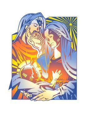 Illustration of Nativity Scene by David Chestnutt