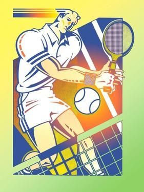 Illustration of Tennis Player by David Chestnutt