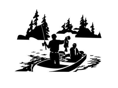 Men Fishing in Boat on Lake by David Chestnutt