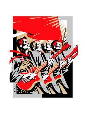 Men Playing Guitars under Red Flag by David Chestnutt