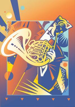 Musician Playing on French Horn by David Chestnutt