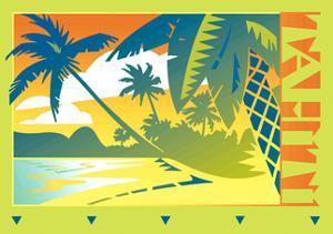 Palm Trees by Beach in Tahiti by David Chestnutt